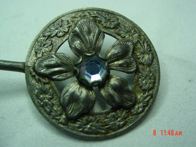 Antique Victorian Pot Metal Rhinestone Flower Hair Pin