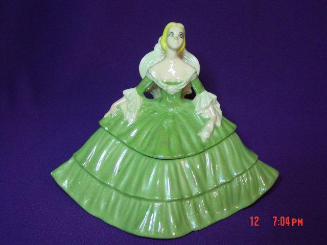 Porcelain Ceramic Victorian Lady Dresser Trinket Box