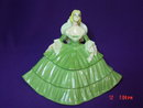 Porcelain Ceramic Victorian Lady Dresser Trinket Box