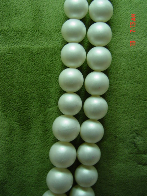 Two Strand Japan White Satin Beaded Necklace & Clip Earrings