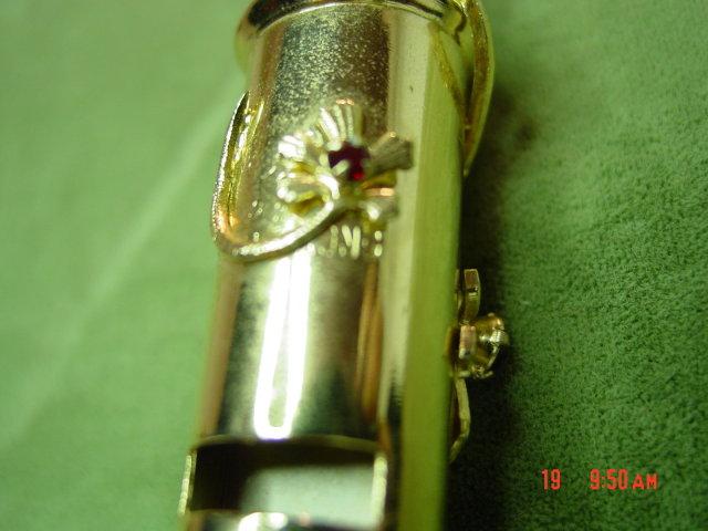 Goldtone Hong Kong NYC Policeman Style Whistle Pendant & Chain