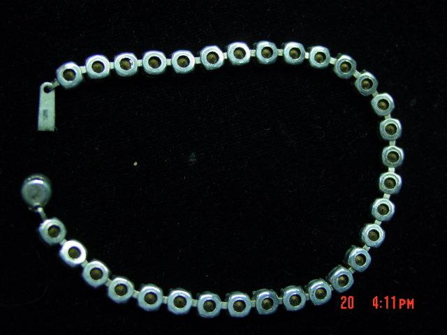 Sterling Silver Green Rhinestone Bracelet