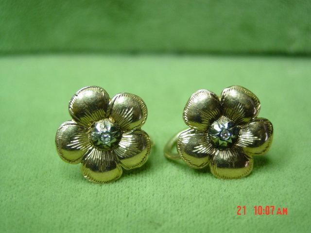 14K Rose Gold Diamond Pansies Screwback Earrings