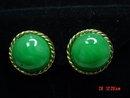 Vintage JOMAZ Green Glass Clip Earrings