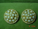 Carnegie Faux Pearl Bead & Rhinestone Button Clip Earrings