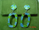 Vintage '60's Blue & Green Enamel Clip Earrings & Brooch Pin Signed ART
