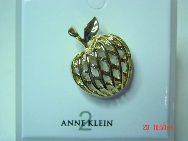 Anne Kleine Goldtone Apple Pin Brooch