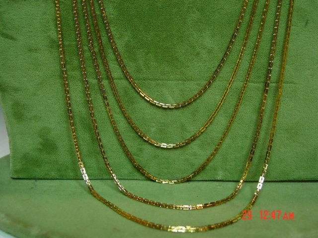 Vintage Hong Kong Goldtone 5 Strand Chain Necklace