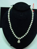 Vintage Faux Pearl Necklace with Pearl & Rhinestone Pendant Signed Roman