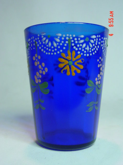 Antique Victorian Cobalt Blue Enamel Painted Lemonade or Water Glass Tumbler
