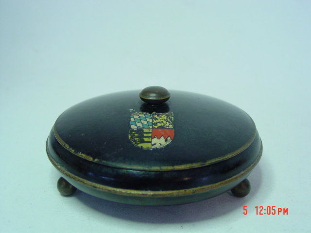 Antique European Lacquered Wood Powder Dish