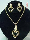 Premier Designs Gold Heart & Pearline Necklace & Pierced Earrings Set
