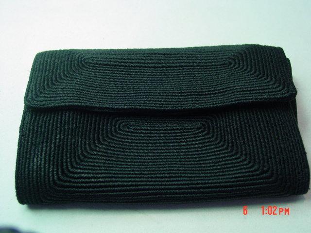 Vintage Black Cotton Coil Cord Weave Clutch Purse