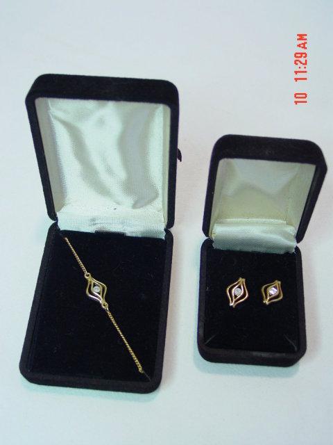 Diamond Bracelet and Post Pierced Earring Set