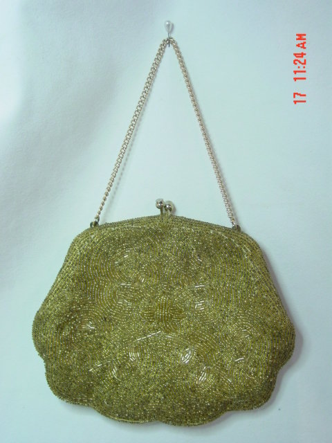 Vintage Gold Seed Bead Purse Evening Bag by Debbie of John Wind Imports
