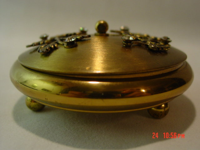 Vintage Brass Powder Dish with Rhinestone Flowers