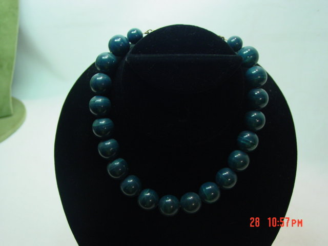 Plastic Marbelized Blue Green Choker Necklace