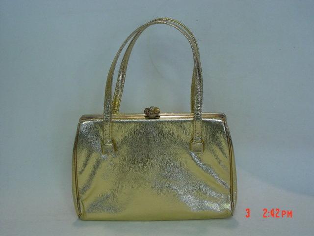 Vintage HL (Harry Levine) Gold Vinyl Handbag Evening Bag Purse