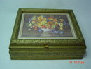 Gold Painted Wood Frame Floral Picture Jewelry Dresser Box