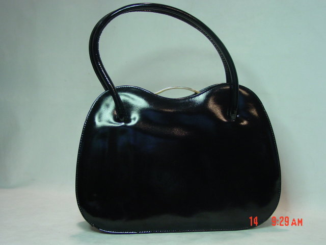 Black Genuine Patent Leather Kelly Handbag by Dofan