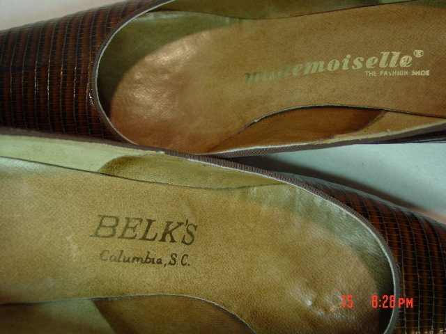 Dark Brown Reptile Skin Leather Mademoiselle Shoes Size 9AAAA