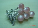 Coro Silvertone Pink Lucite Moonglow Thermoset  Grape Cluster & Rhinestone Brooch Pin