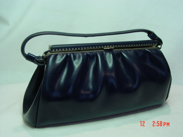 Vintage Navy Blue Leather Handbag by Spilene