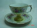 Japan Lustreware & Floral Pedestal Tea Cup & Saucer