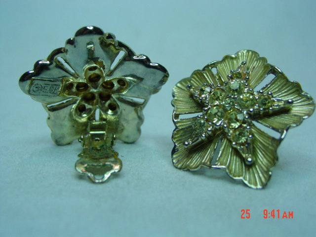 BSK Goldtone & Yellow Rhinestone Clip Earrings