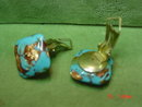 Blue & Copper Art Glass Clip Earrings Signed Italy