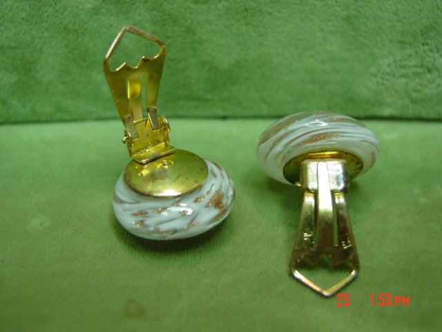White & Copper Art Glass Clip Earrings Signed Italy