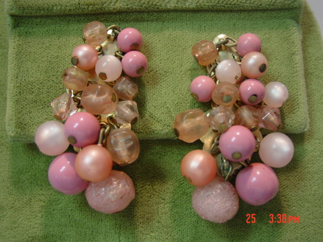 Karu Pink Bead Clip Earrings