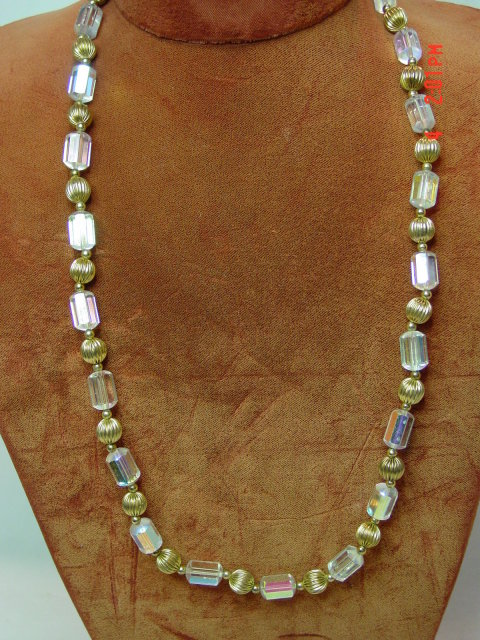 AB Crystal & Gold Bead Necklace