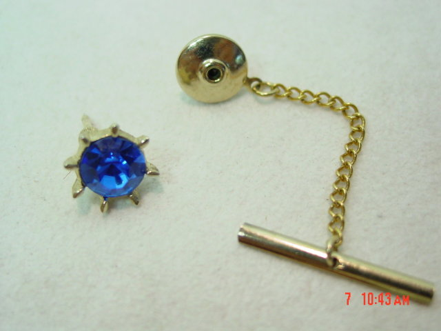 Vintage Swank Blue Glass Tie Pin
