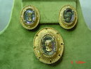 Judy Lee AB Crystal Cameo Pendant Brooch & Clip Earrings