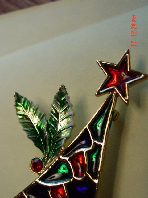 Vintage B.J. Christmas tree pin