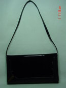 Vintage Black Vinyl Accordian Envelope Clutch Purse