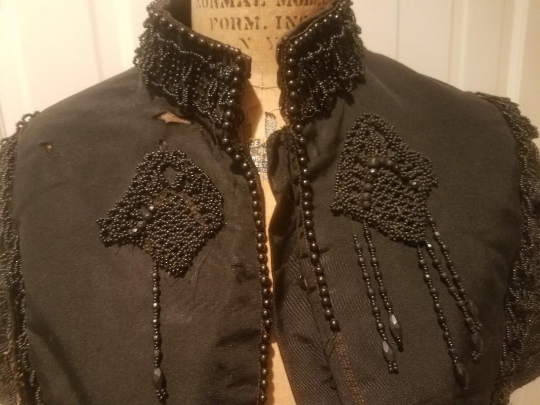 Antique Victorian Black Silk Jet Black Beaded Mourning Mantle Cape Collar Shawl