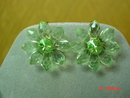 Germany 3 Strand Green Plastic Bead Necklace & Flower Clip Earrings