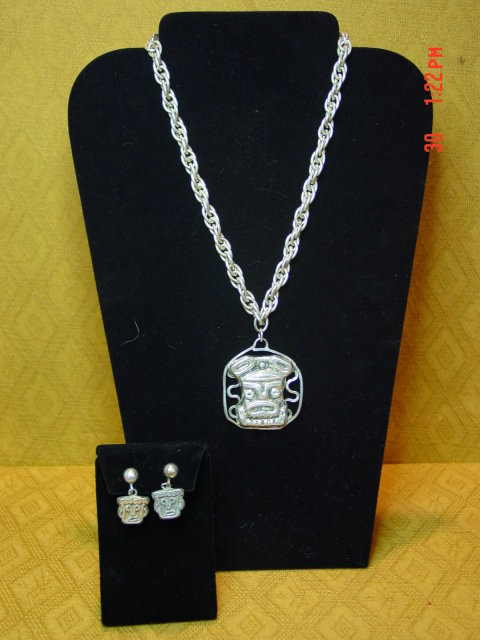 Rebajes Silver Tribal Necklace & Screwback Earrings