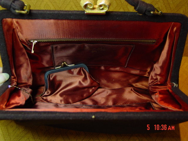Vintage Mel-ton Brown Wool Handbag Purse
