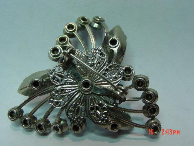 Vintage Beau Jewels Blue Rhinestone Brooch Pin