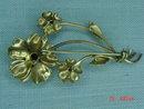 10K GF Ruby Rhinestone Flower Brooch Pin