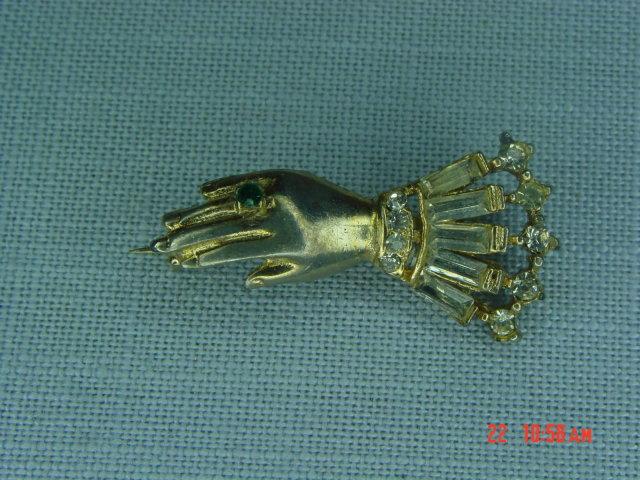 Rhinestone Victorian Hand Pin