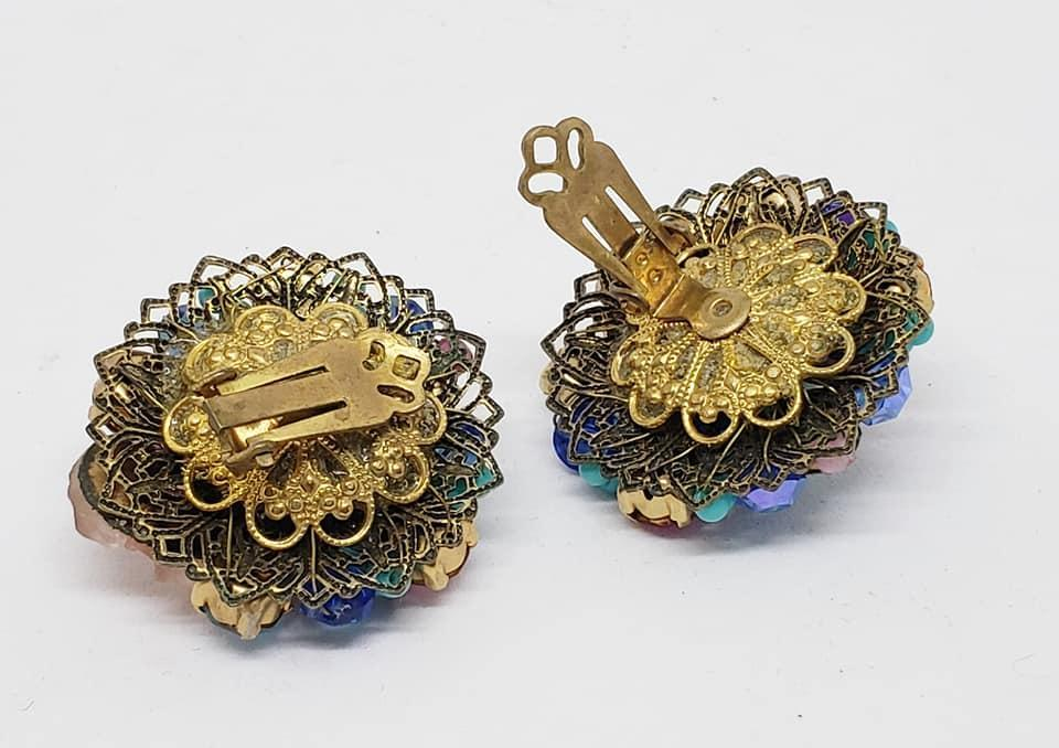 Vintage Blue & Pink Glass, Rhinestone & Beaded Brooch & Clip Earrings
