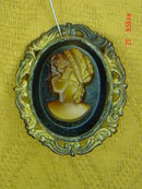 Western Germany Resin Cameo Brooch