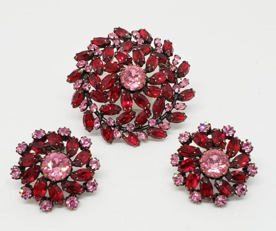 Signed Schreiner Red and Pink Pinwheel Rhinestone Brooch and Clip Earrings