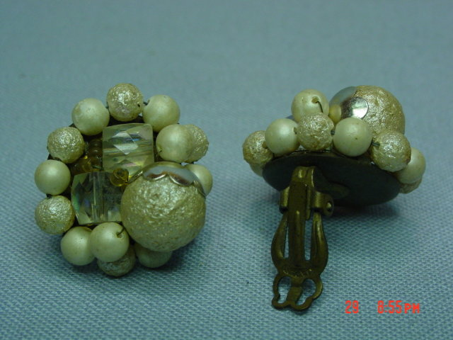 Vintage Japan Beaded Clip Earrings