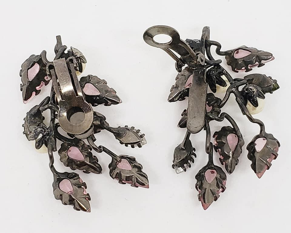 Schreiner Wire Branch Brooch & Clip Earrings