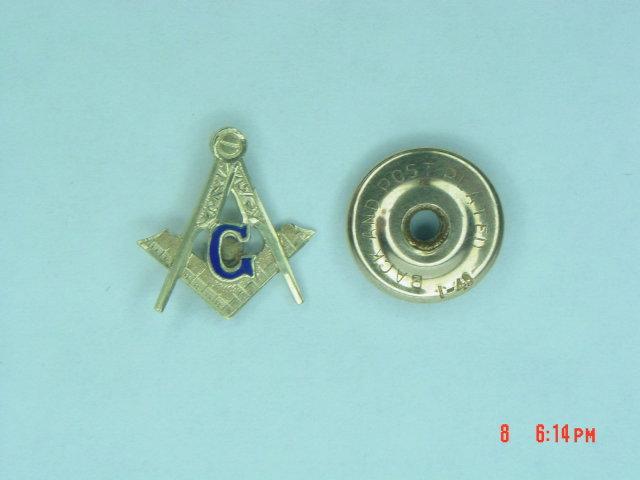 Antique Masonic Compass Square Screw Back Lapel Pin